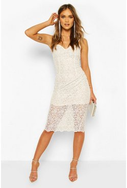 White Strappy Crochet Lace Midi Dress