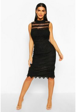 Black High Neck Crochet Lace Bodycon Midi Dress