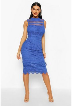 Cobalt High Neck Crochet Lace Bodycon Midi Dress