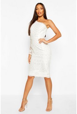 White One Sleeve Corded Lace Bodycon Midi Dress