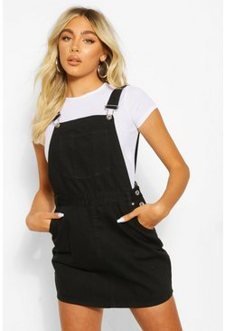 Denim Pinafore Dress, Black