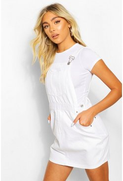 Denim Pinafore Dress, White