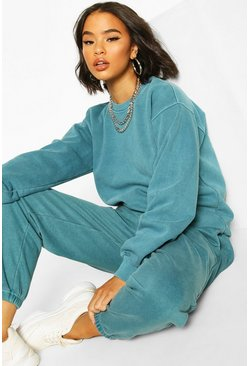 Washed Oversized Sweat, Teal