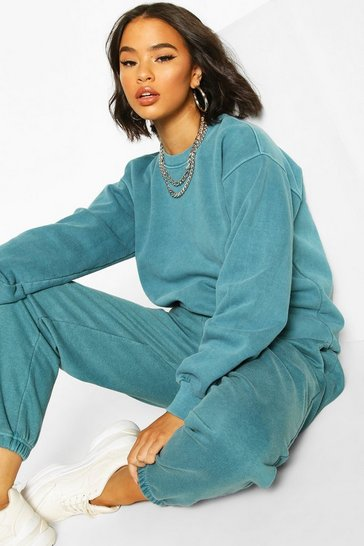 Teal Washed Oversized Sweat
