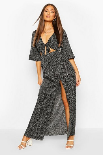 Black Woven Polka Dot Tie Front Top And Maxi Skirt Co-ord