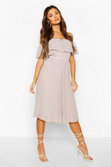 Chiffon Pleated Mix And Match Midi Skirt