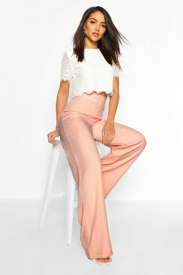 Blush Woven Lace Top And Trouser Co-ord Set