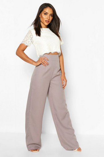 Grey Woven Lace Top And Trouser Co-ord