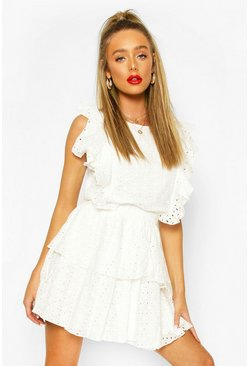 White Broiderie Anglaise Ruffle Top