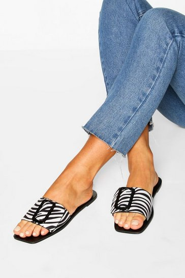 Black Zebra Print Buckle Trim Sliders