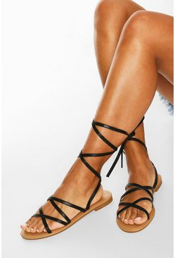 Strappy Ankle Tie Flat Sandals, Black
