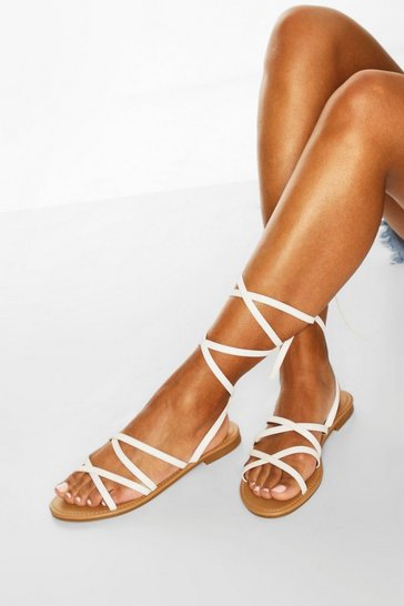 White Strappy Ankle Tie Flat Sandals