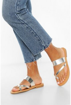 Toe Post Sandals, Silver