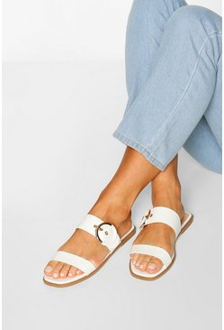 Buckle Detail Square Toe Sliders, White
