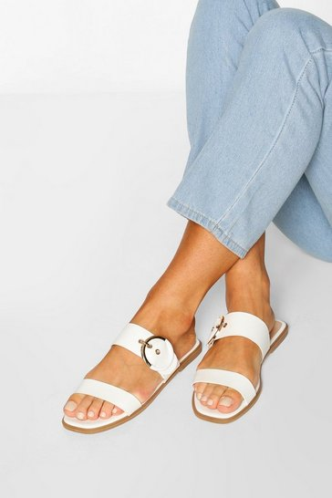 White Buckle Detail Square Toe Sliders