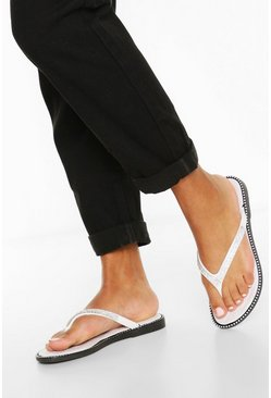 White Diamante Trim Flip Flops