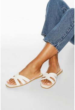 White Cross Strap Sliders
