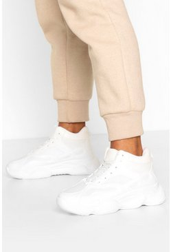 Bubble Sole Chunky High Top Trainers, White