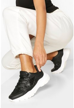 Black Croc Panel Chunky Sneakers