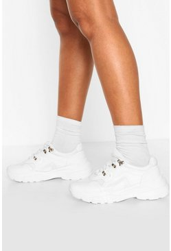 White Chunky Sole Hiker Sneakers