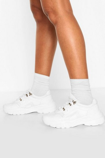 White Chunky Sole Hiker Trainers