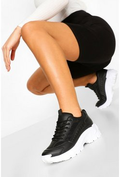 Black Cleated Sole Chunky Sneakers