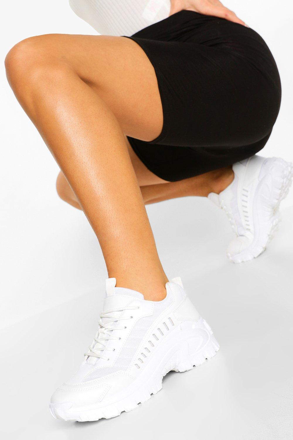 womens cleated sole chunky sneakers - white - 5