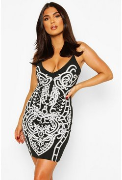 Black Feature Front Print Strappy Mini Dress