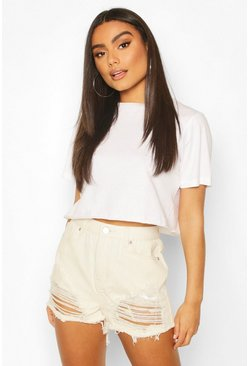 High-Waist Mama-Shorts in Destroyed-Optik, Naturfarben