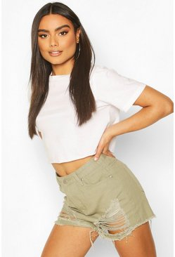 Khaki High Waisted Distressed Mom Short