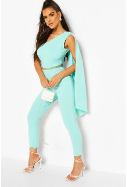 Aqua One Shoulder Drape Detail Jumpsuit