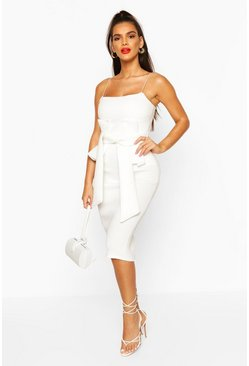 White Bonded Scuba Pleat Detail Midi Dress