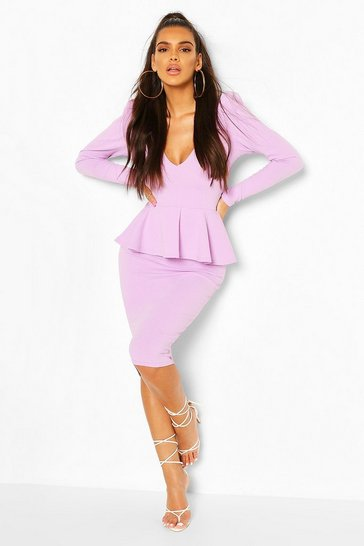 Lilac Structured Peplum Midi Dress