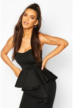Black Bonded Scuba Bandeau Ruffle Midi Dress