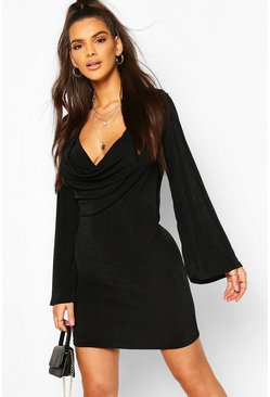 Black Textured Slinky Cowl Front Shift Dress