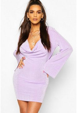 Lilac Textured Slinky Cowl Front Shift Dress