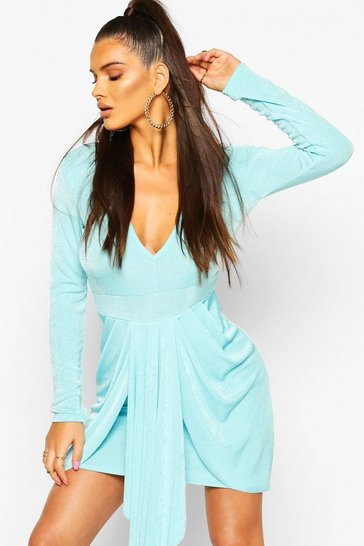 Aqua Textured Slinky Drape Mini Bodycon Dress