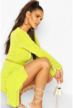 Lime Textured Slinky Drape Mini Bodycon Dress