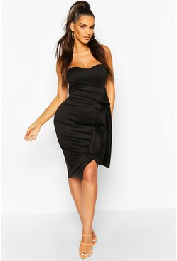 Black Pleat Detail Bandeau Midi Dress