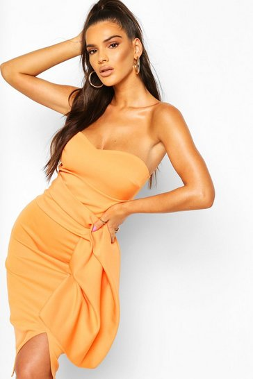 Tangerine Pleat Detail Bandeau Midi Dress