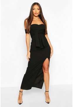 Black Off The Shoulder Bow Detail Split Midaxi Dress