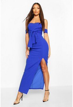 Blue Off The Shoulder Bow Detail Split Midaxi Dress