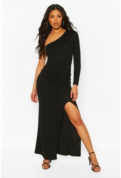 One Shoulder Long Sleeve Split Front Maxi Dress, Black