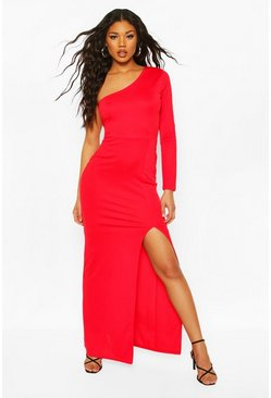 Red One Shoulder Long Sleeve Split Front Maxi Dress