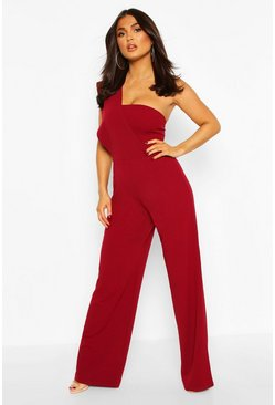 Berry One Shoulder Wide Leg Jumpsuit