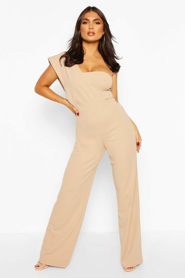 Sand One Shoulder Wide Leg Jumpsuit