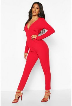 Red Plunge Long Sleeve Jumpsuit