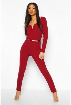 Berry Plunge Belted Long Sleeve Jumpsuit