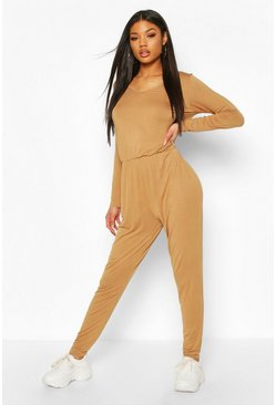 Camel Long Sleeve Basic Jersey Jumpsuit