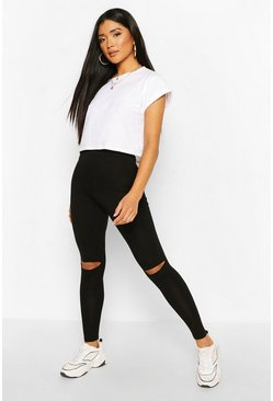 Black Ripped Knee Basic Jersey Leggings
